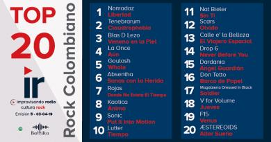 Top 20 Rock Colombiano – Emisión 5 – 2019