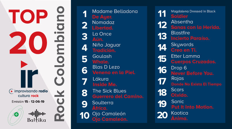 Top 20 Rock Colombiano – Emisión 15 – 2019