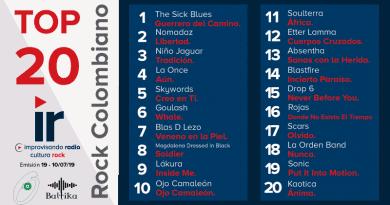 Top 20 Rock Colombiano – Emisión 19 – 2019