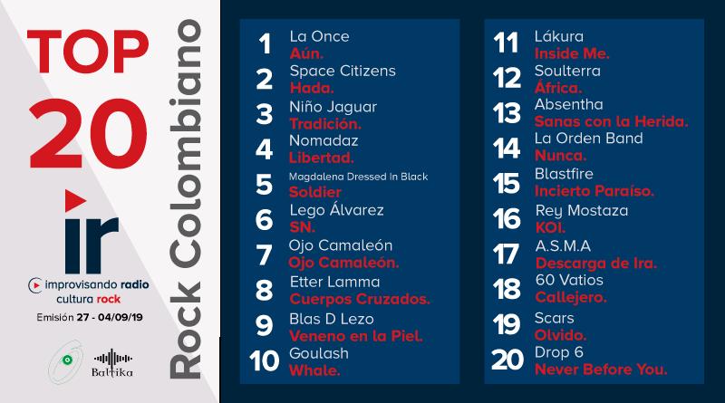 Top 20 Rock Colombiano – Emisión 27 – 2019