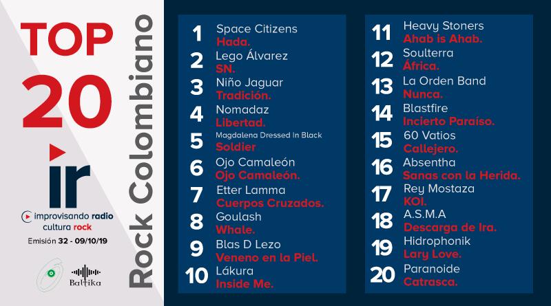 Top 20 Rock Colombiano – Emisión 32 – 2019