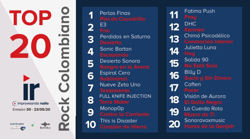 Top 20 Rock Colombiano – Emisión 29 y 30 – 2020